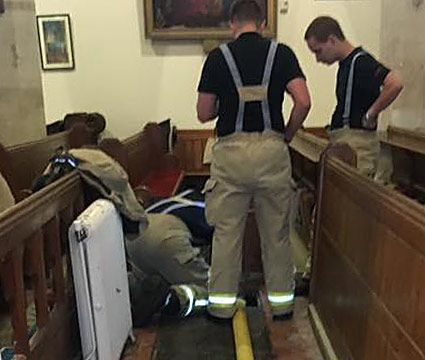 Fire Crew Come To The Church's Rescue At St Thomas At Cliffe, Lewes After Overnight Flooding
