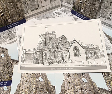 New Postcards, Bookmarks And Prayer Cards Available From St Thomas A Becket Church In Cliffe, Lewes, East Sussex