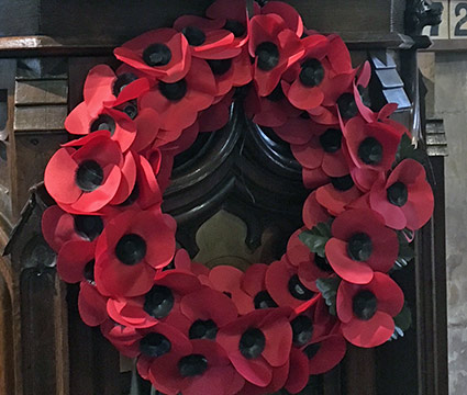 Pulpit Wreath For Remembrance Sunday At St Thomas A Becket, Parish Church Of The Cliffe, Lewes