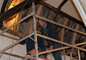 Removing death-watch beetle infestation from St Thomas a Becket Church, Lewes