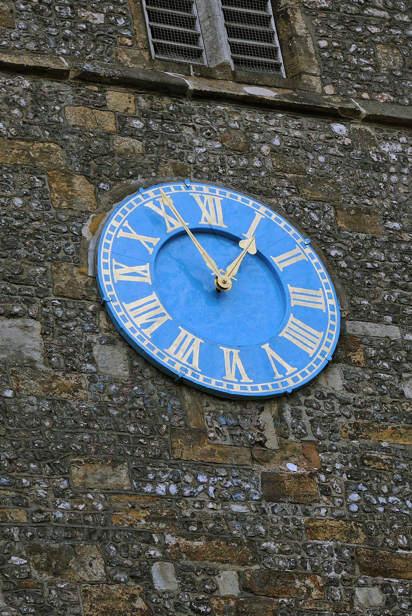 Clock face on the Tower of St Thomas a Becket parish church, Lewes