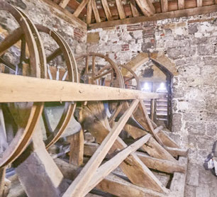 The ring of four bells at the parish church of St Thomas a Becket at Cliffe, Lewes, East Sussex